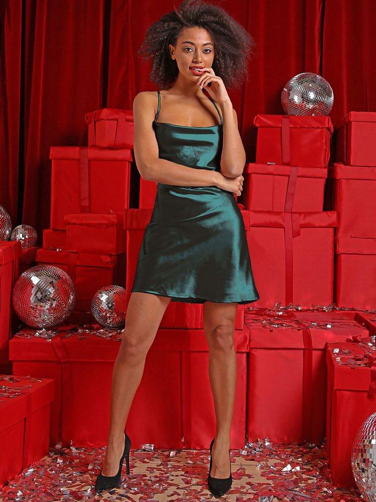 Sukienka koktajlowa zielona z wiązaniem sznurkowym na plecach Love&Live (zdjęcie 2)
