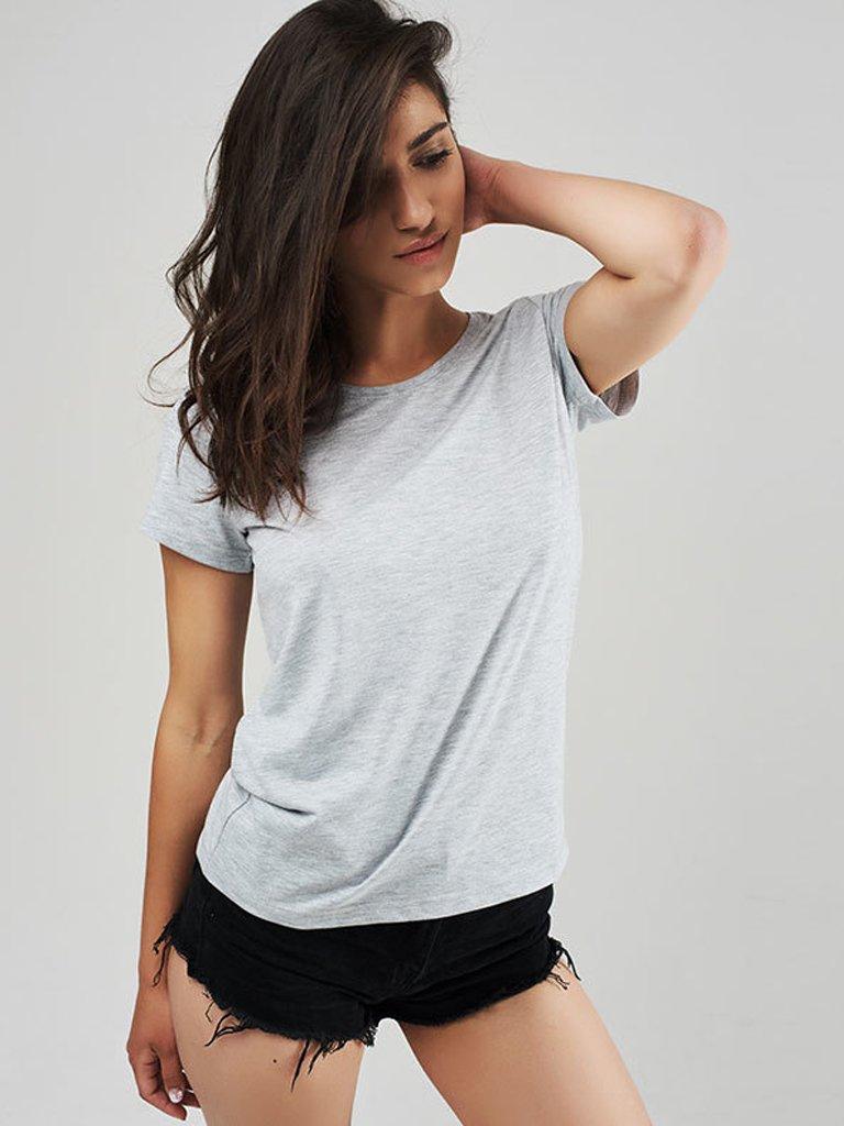 T-shirt szary z okrągłym dekoltem Love&Live
