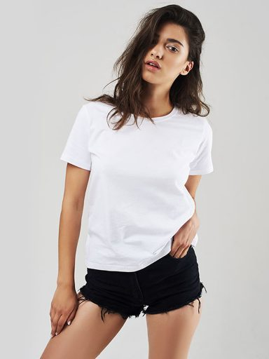 T-shirt biały z okrągłym dekoltem Love&Live (zdjęcie 16)