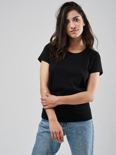 T-shirt czarny z okrągłym dekoltem Love&Live (zdjęcie 11)