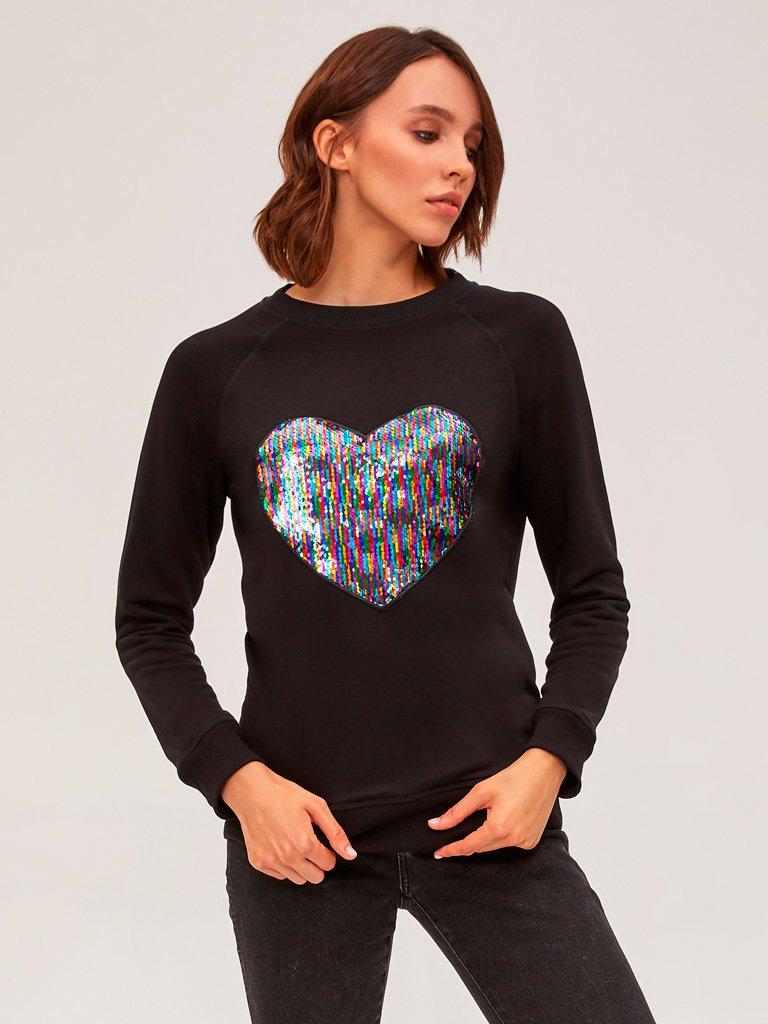 Bluza czarna z sercem Love&Live (zdjęcie 2)