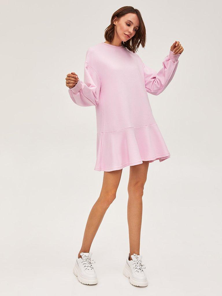 Sukienka dresowa z długim rękawem różowa Love&Live (zdjęcie 2)
