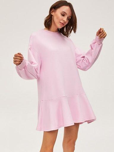 Sukienka dresowa z długim rękawem różowa Love&Live (zdjęcie 10)