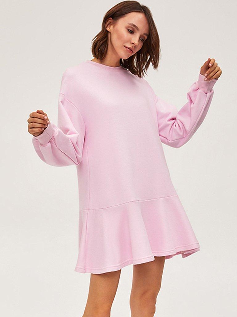 Sukienka dresowa z długim rękawem różowa Love&Live