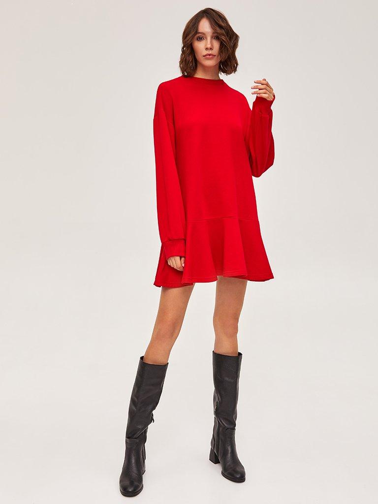 Sukienka dresowa z długim rękawem czerwona Love&Live