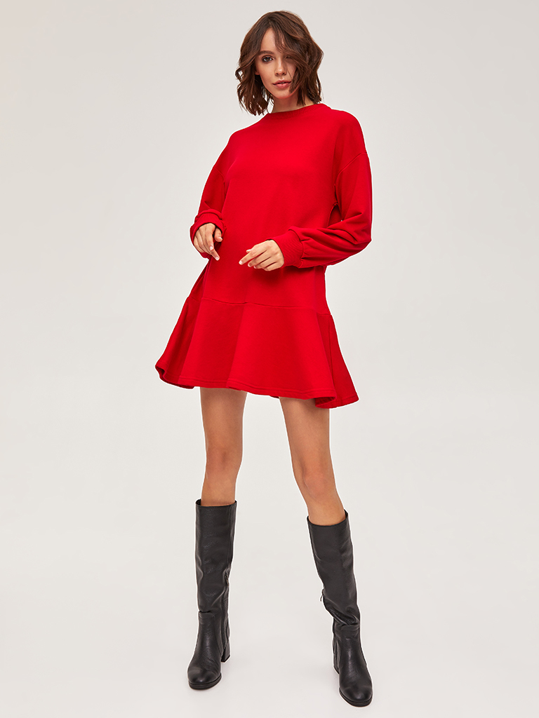 Sukienka dresowa z długim rękawem czerwona Love&Live (zdjęcie 2)