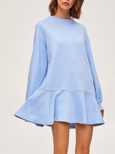 Sukienka dresowa z długim rękawem niebieska Love&Live (zdjęcie 4)