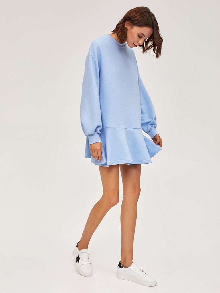 Sukienka dresowa z długim rękawem niebieska Love&Live (zdjęcie 2)