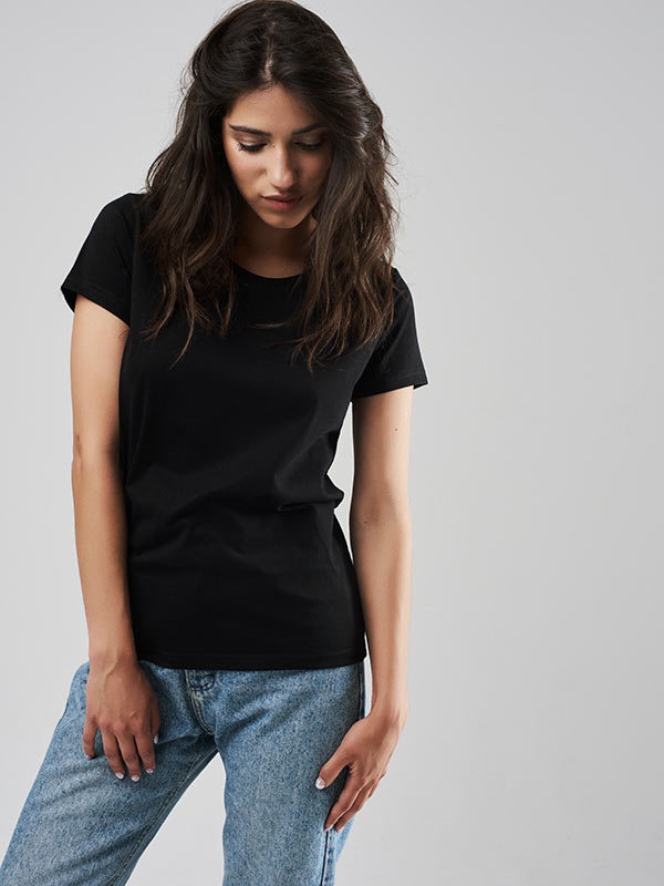 T-shirt czarny z okrągłym dekoltem Love&Live (zdjęcie 2)