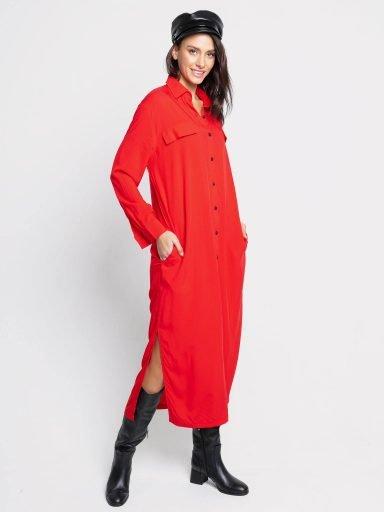 Sukienka koszulowa długa czerwona Love&Live (zdjęcie 6)