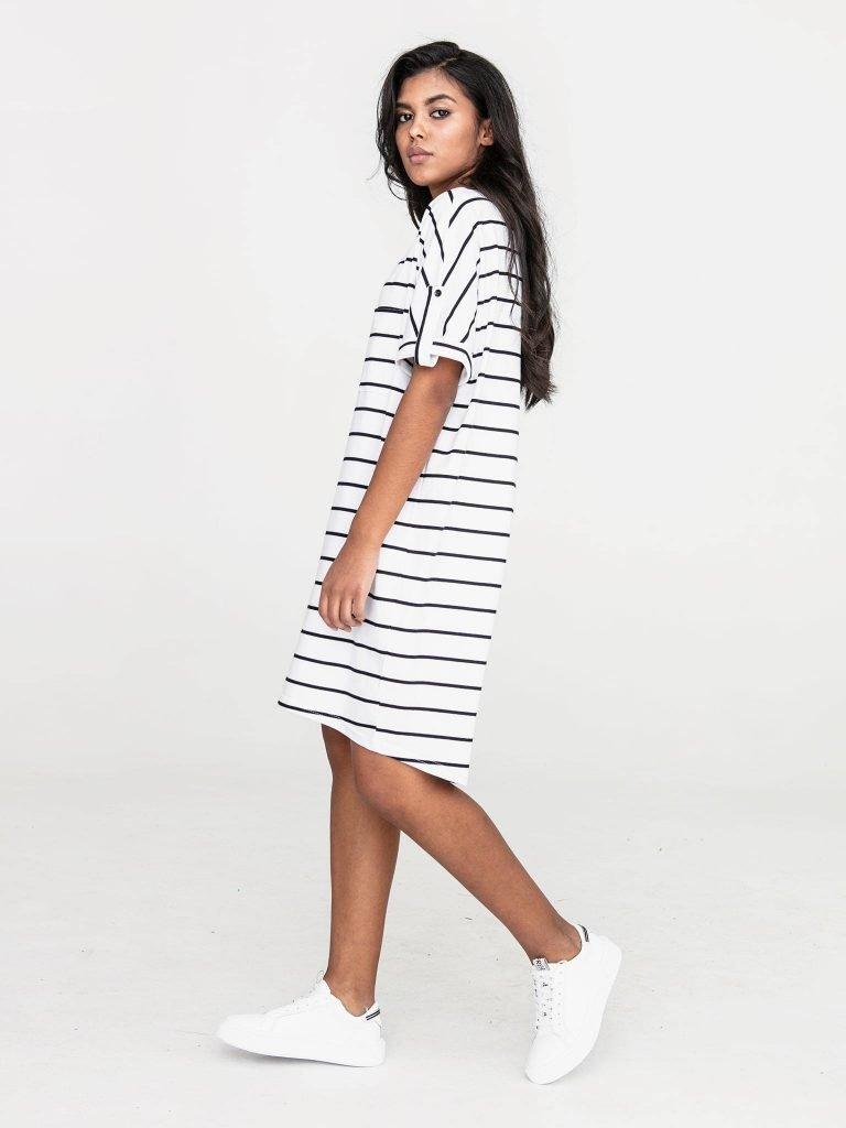 Sukienka dresowa biała w paski Love&Live