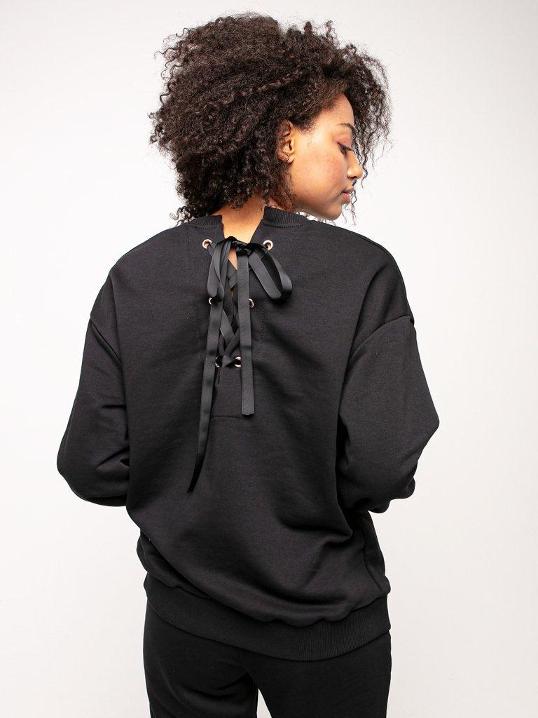 Bluza czarna oversize z tasiemką na plecach Katarina Ivanenko