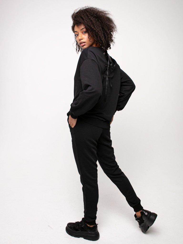 Bluza czarna oversize z tasiemką na plecach Katarina Ivanenko (zdjęcie 3)