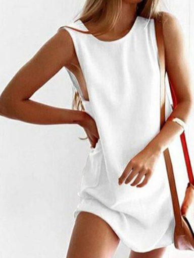 Sukienka koszulkowa biała Love&Live (zdjęcie 14)