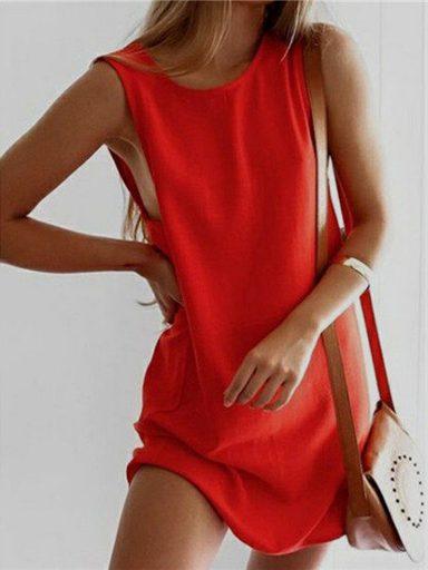 Sukienka koszulkowa czerwona Love&Live (zdjęcie 4)