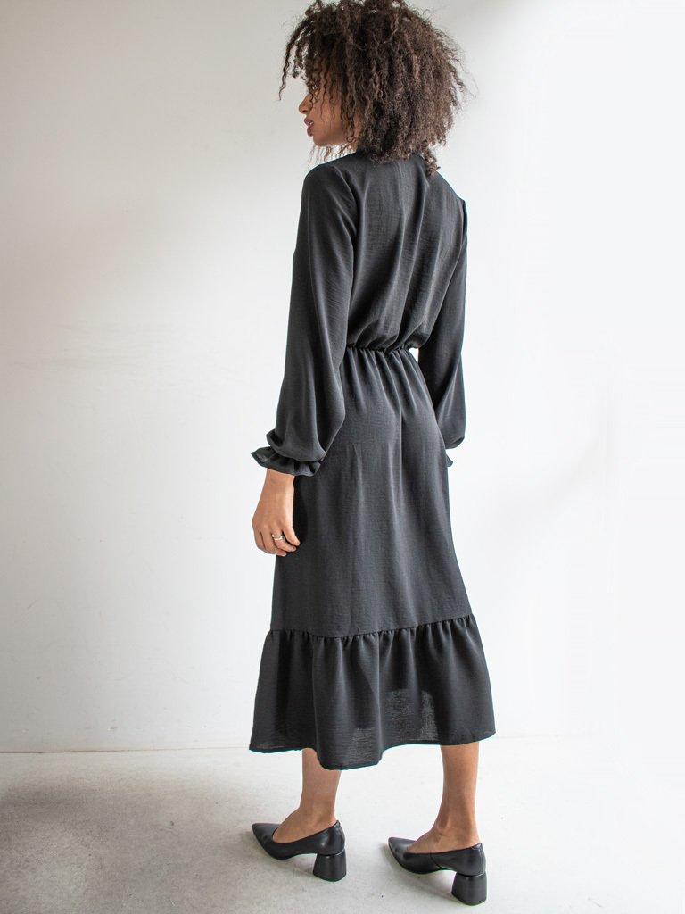 Sukienka długa z kokardą czarna Love&Live (zdjęcie 2)