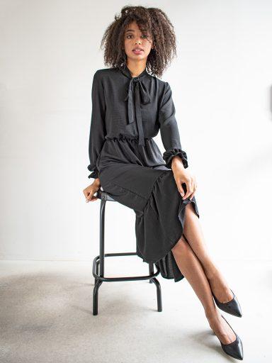 Sukienka długa z kokardą czarna Love&Live (zdjęcie 10)