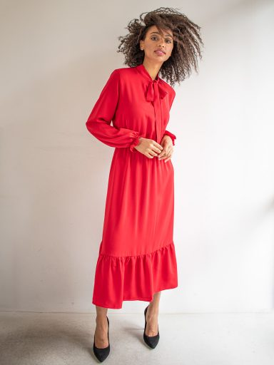 Sukienka długa z kokardą czerwona Love & Live (zdjęcie 16)