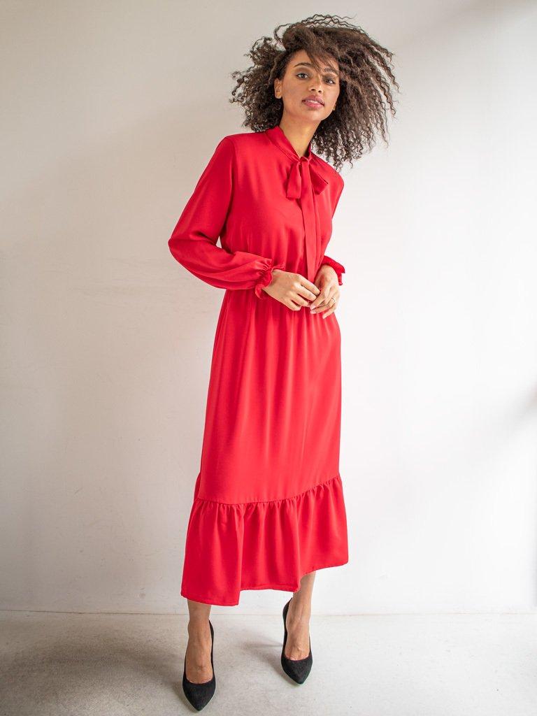 Sukienka długa z kokardą czerwona Love & Live