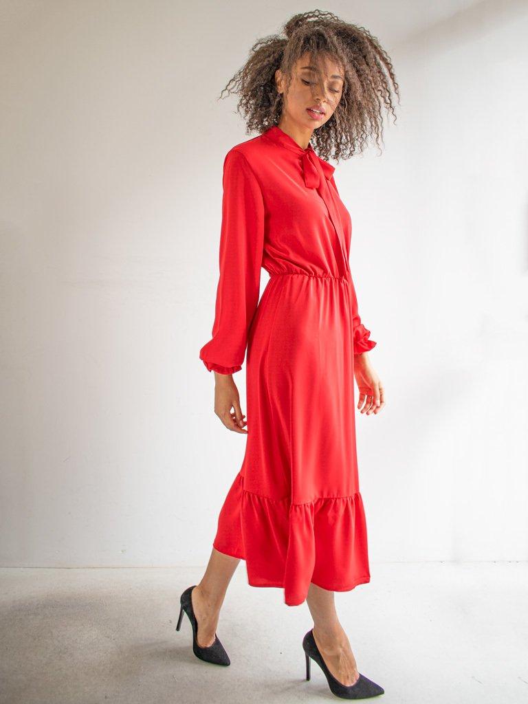Sukienka długa z kokardą czerwona Love & Live (zdjęcie 2)