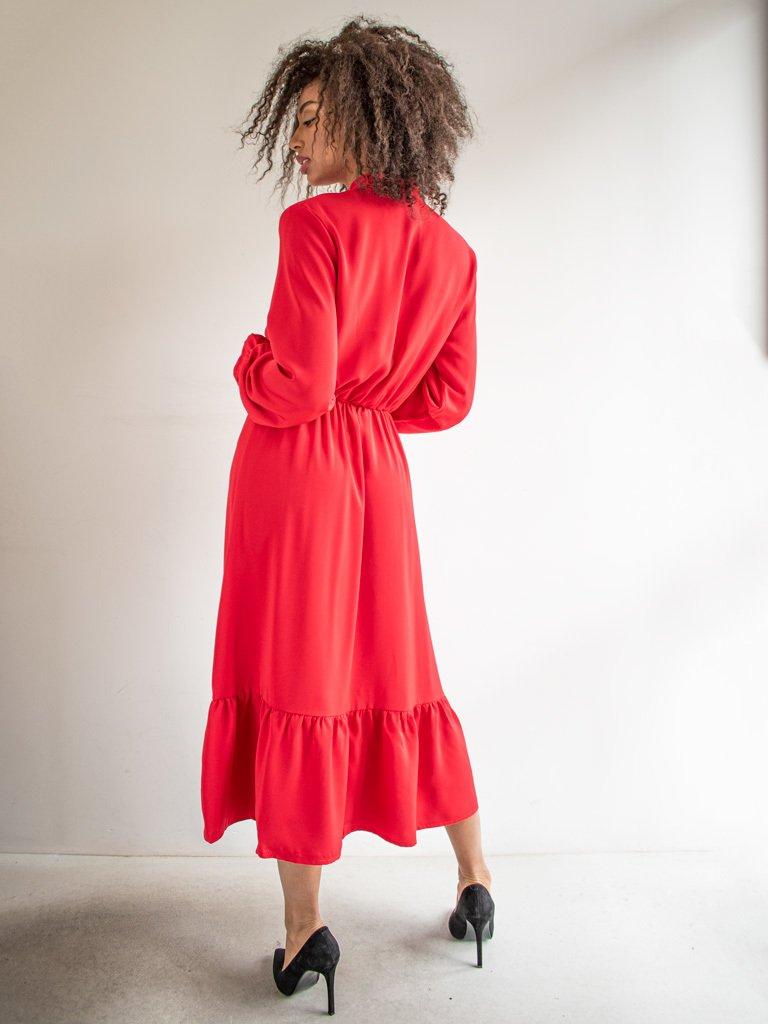 Sukienka długa z kokardą czerwona Love & Live (zdjęcie 3)