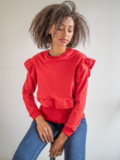 Bluza czerwona z falbanami Katarina Ivanenko (zdjęcie 7)