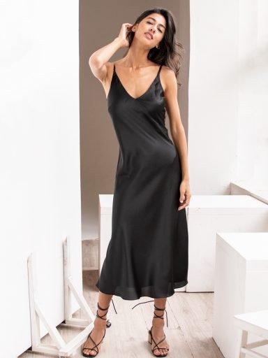 Sukienka bieliźniana czarna Katarina Ivanenko (zdjęcie 15)