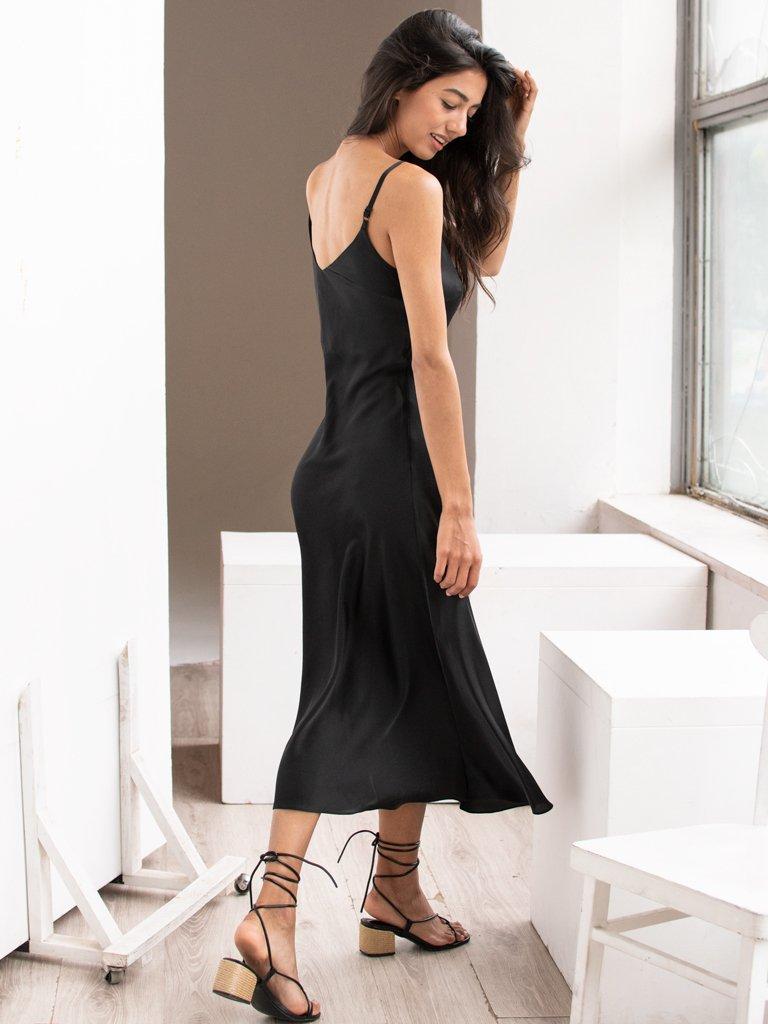 Sukienka bieliźniana czarna Katarina Ivanenko (zdjęcie 3)