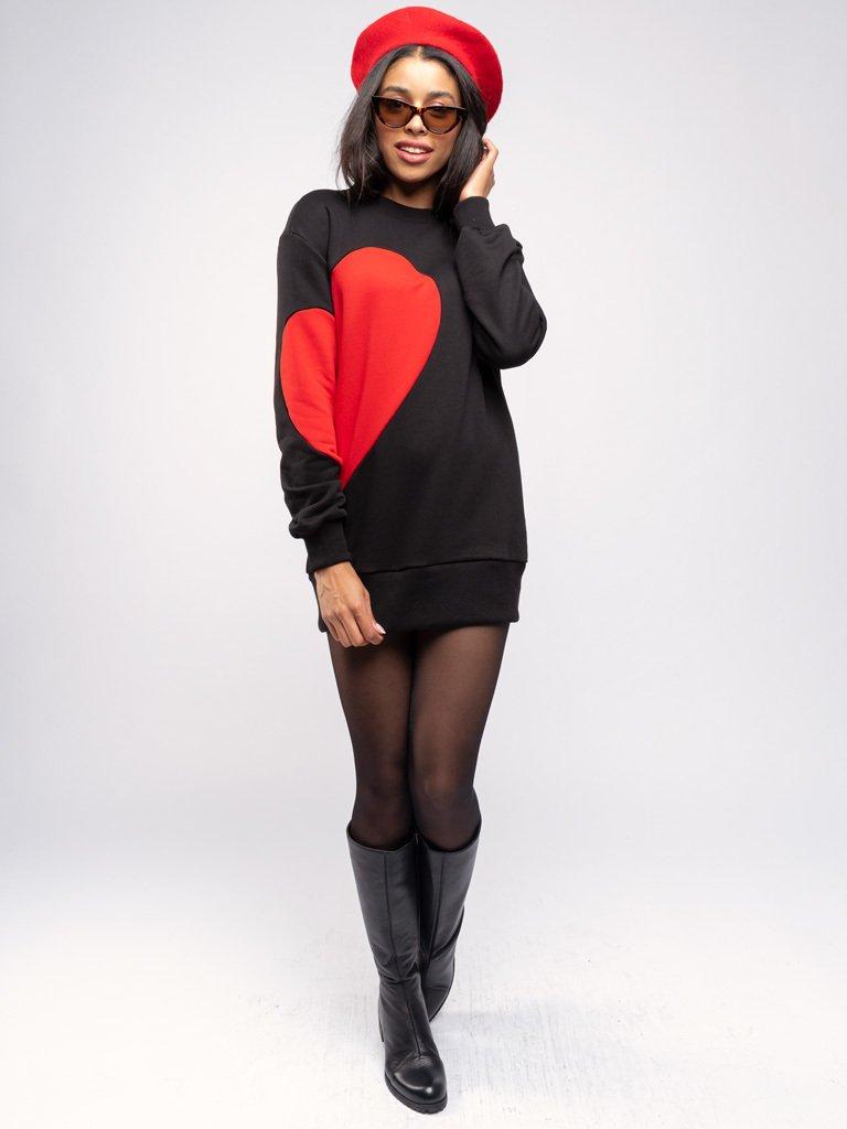 Sukienka dresowa czarna z czerwonym sercem Love&Live (zdjęcie 3)