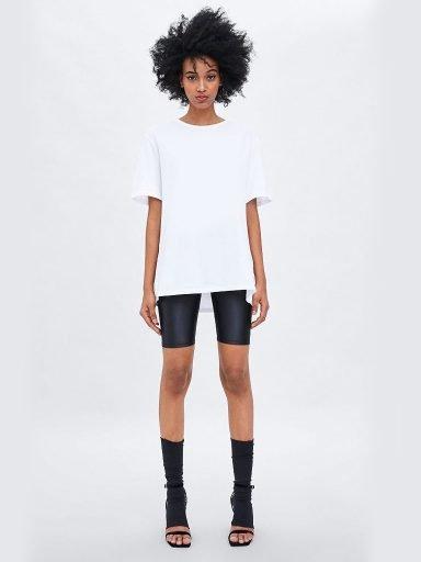 T-shirt biały z asymetrycznym dołem Love&Live (zdjęcie 10)