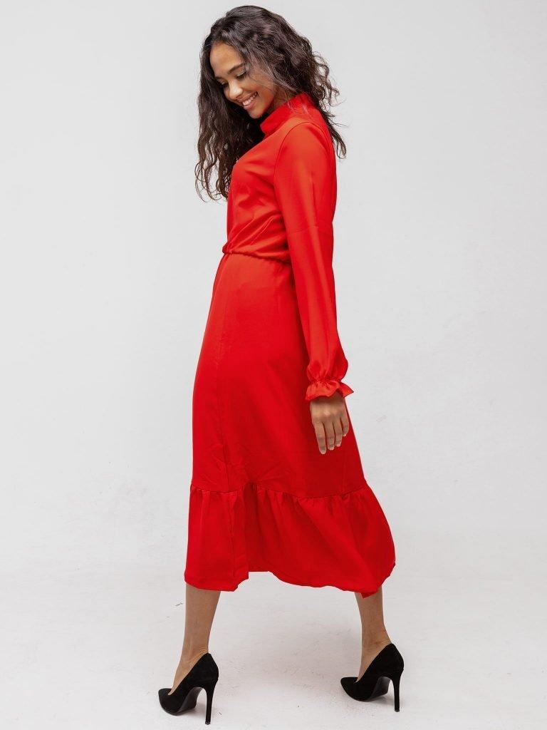 Sukienka czerwona wykończona falbanką Katarina Ivanenko (zdjęcie 3)