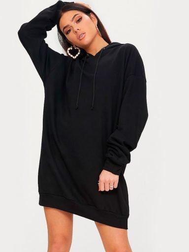 Sukienka dresowa z kapturem czarna Love&Live (zdjęcie 11)