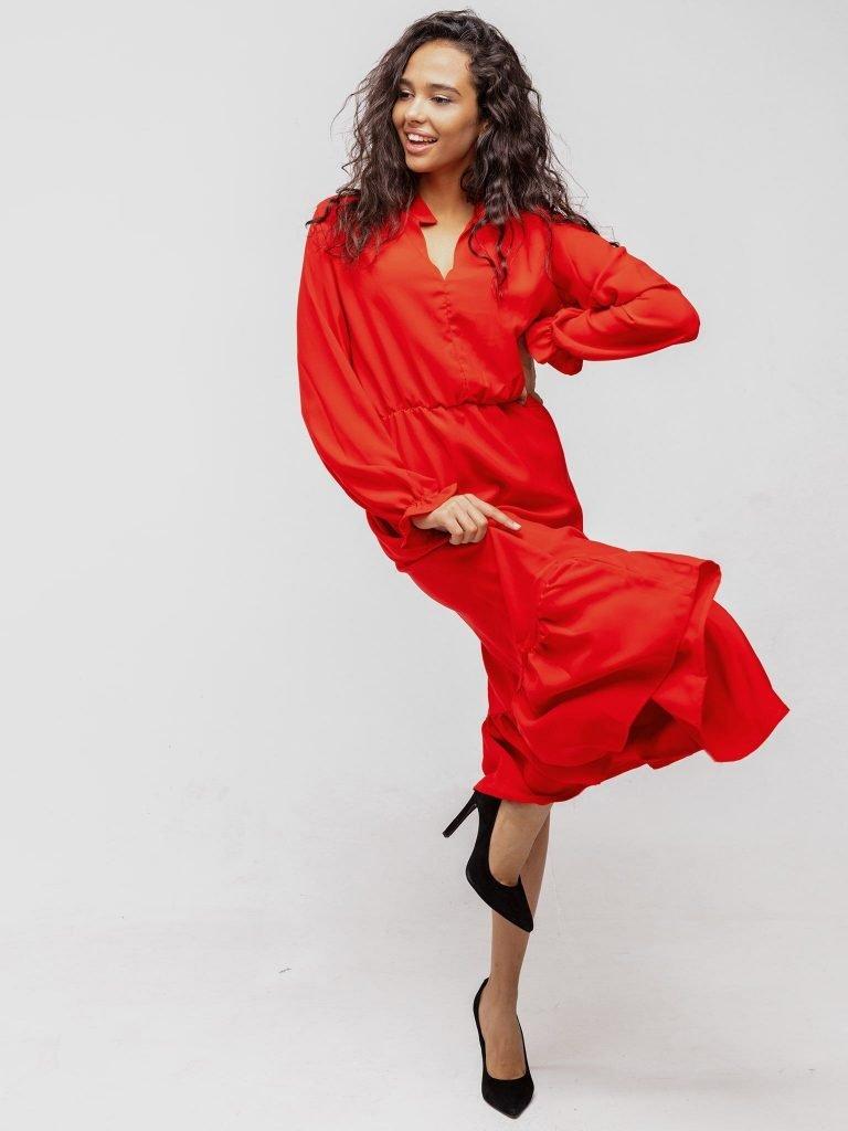Sukienka czerwona wykończona falbanką Katarina Ivanenko (zdjęcie 2)