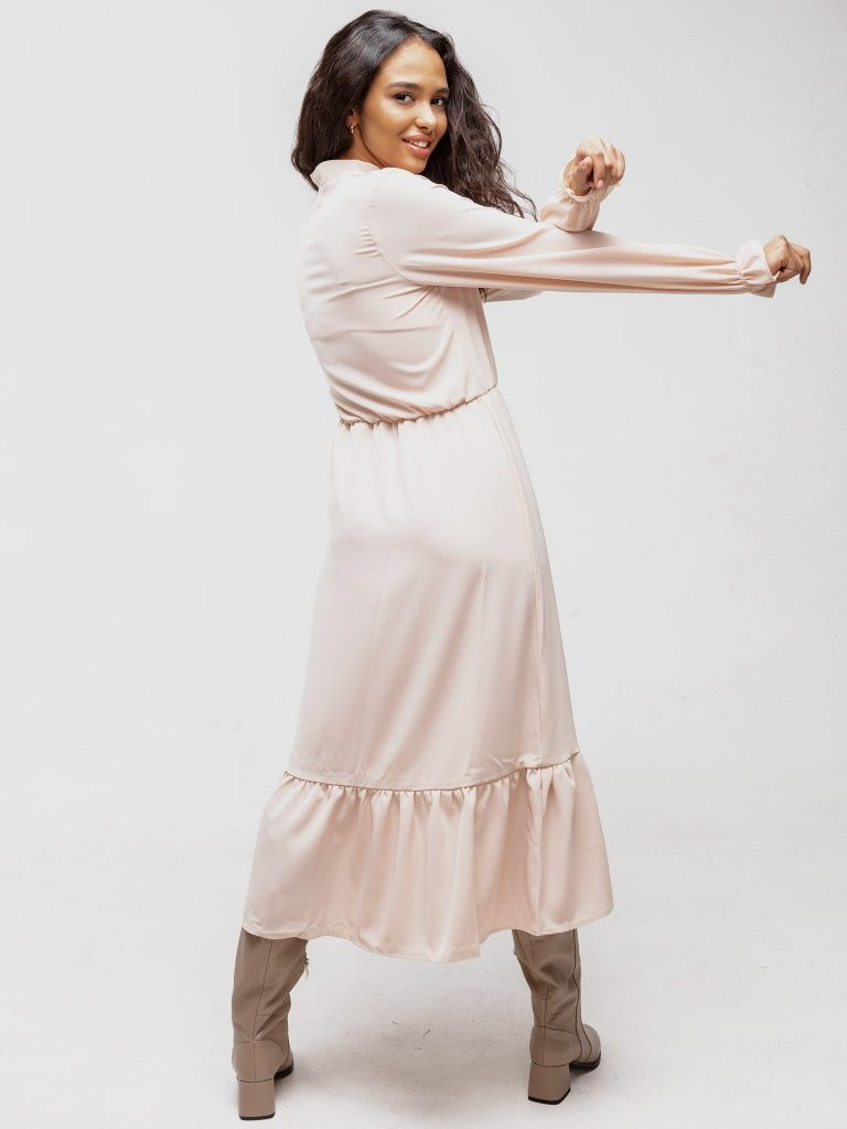 Sukienka beżowa z wszytą gumką na rękawach Katarina Ivanenko (zdjęcie 3)