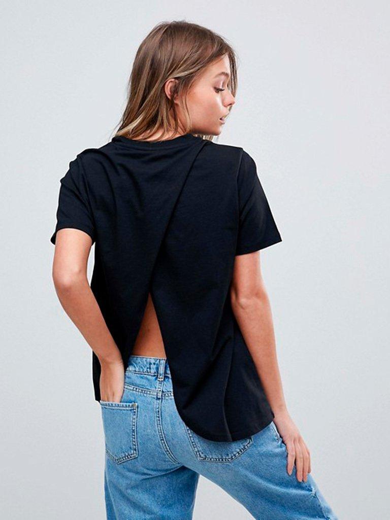 Koszulkaczarna z wycięciem na plecach Katarina Ivanenko
