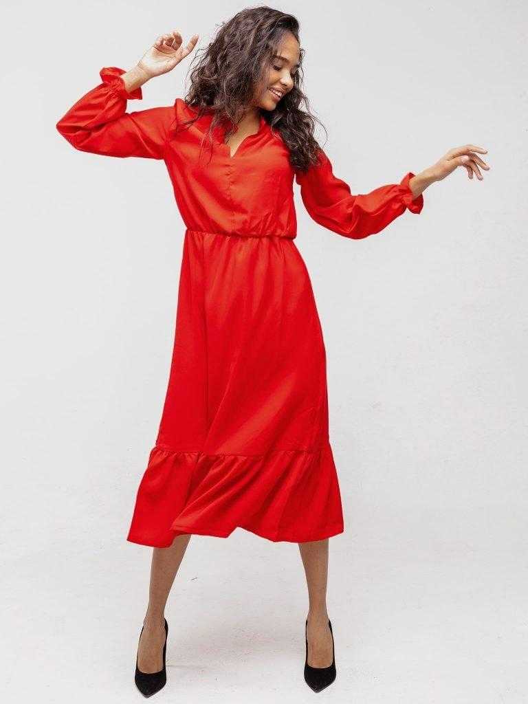 Sukienka czerwona wykończona falbanką Katarina Ivanenko