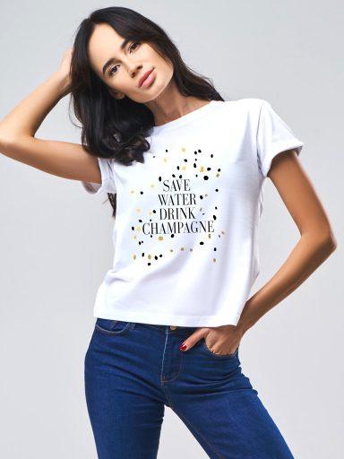 T-shirt SAVE WATER DRINK CHAMPAGNE Katarina Ivanenko (zdjęcie 3)