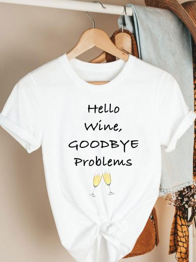 T-shirt biały HELLO WINE, GOODBYE PROBLEMS Katarina Ivanenko (zdjęcie 2)