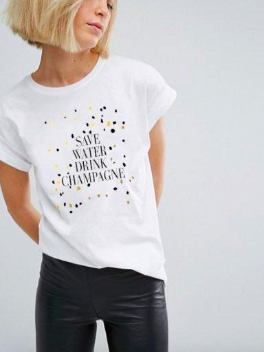 T-shirt SAVE WATER DRINK CHAMPAGNE Katarina Ivanenko (zdjęcie 5)