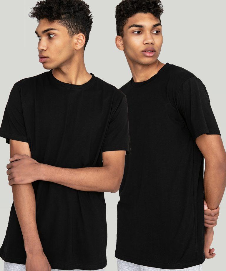 Zestaw czarnych t-shirtów z okrągłym dekoltem 2 szt. Love&Live