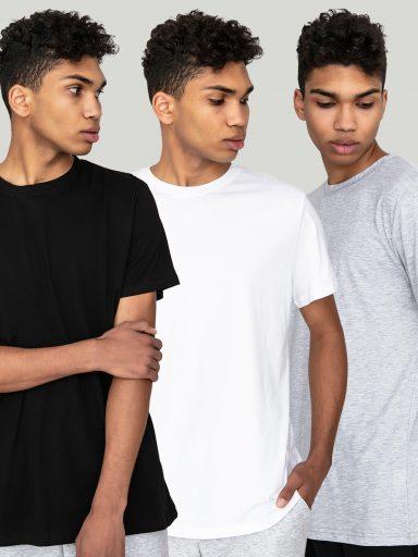 Zestaw t-shirtów z okrągłym dekoltem 3 szt. (czarny, biały, szary) Love&Live