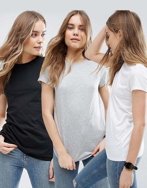 Zestaw t-shirtów 3 szt. (biały, szary, czarny) Love&Live