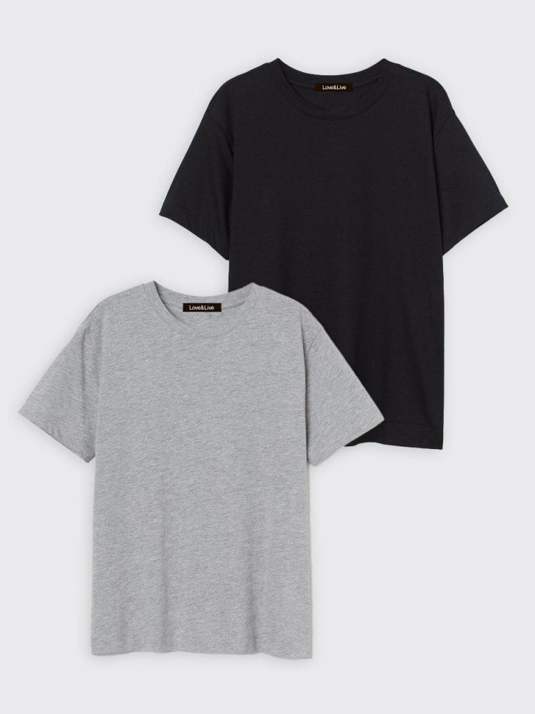 Zestaw t-shirtów 2 szt. (czarny, szary) Love&Live