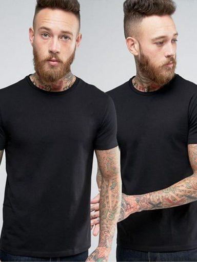 Zestaw czarnych t-shirtów z okrągłym dekoltem Love&Live (zdjęcie 4)