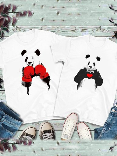 Koszulki dla par komplet 2 szt. Panda Bokser Love&Live (zdjęcie 3)