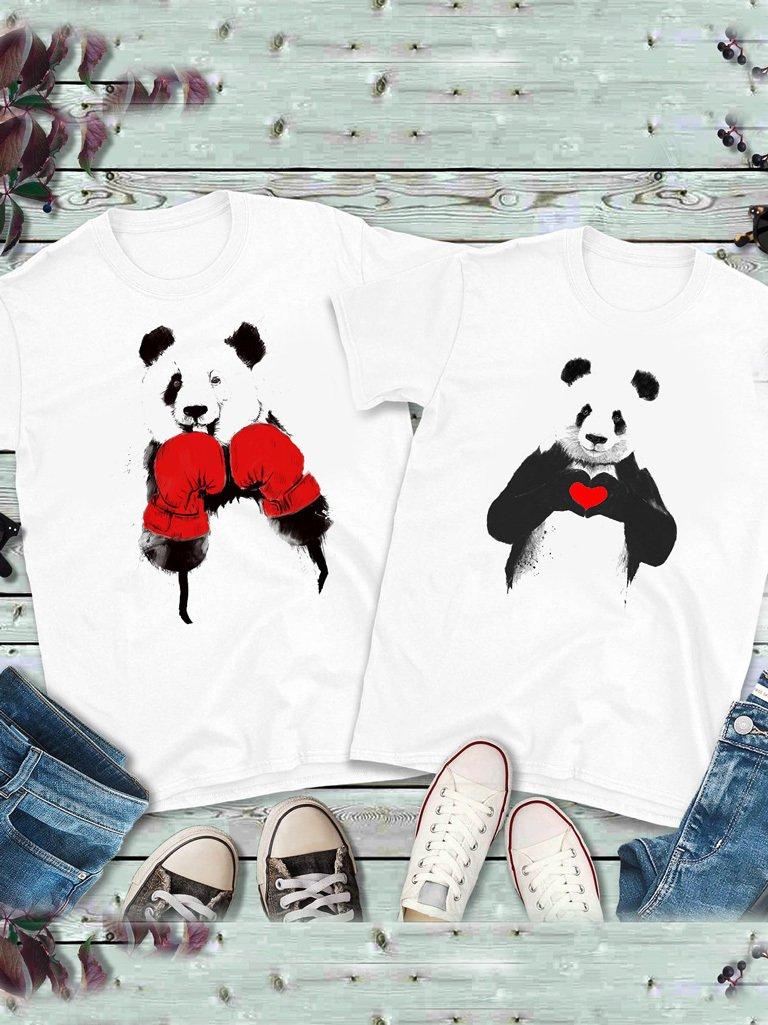 Koszulki dla par komplet 2 szt. Panda Bokser Love&Live