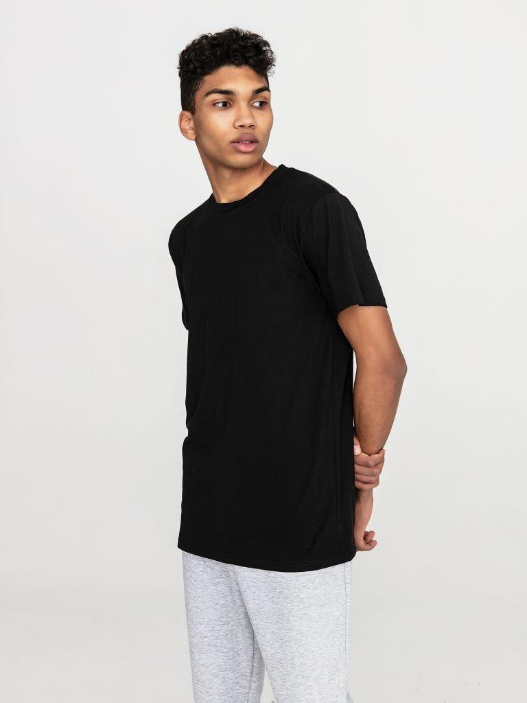 Czarny t-shirt męski z okrągłym dekoltem Love&Live