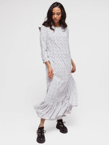 Sukienka biała maxi luźna w kroju ze wzorem Love&Live (zdjęcie 5)
