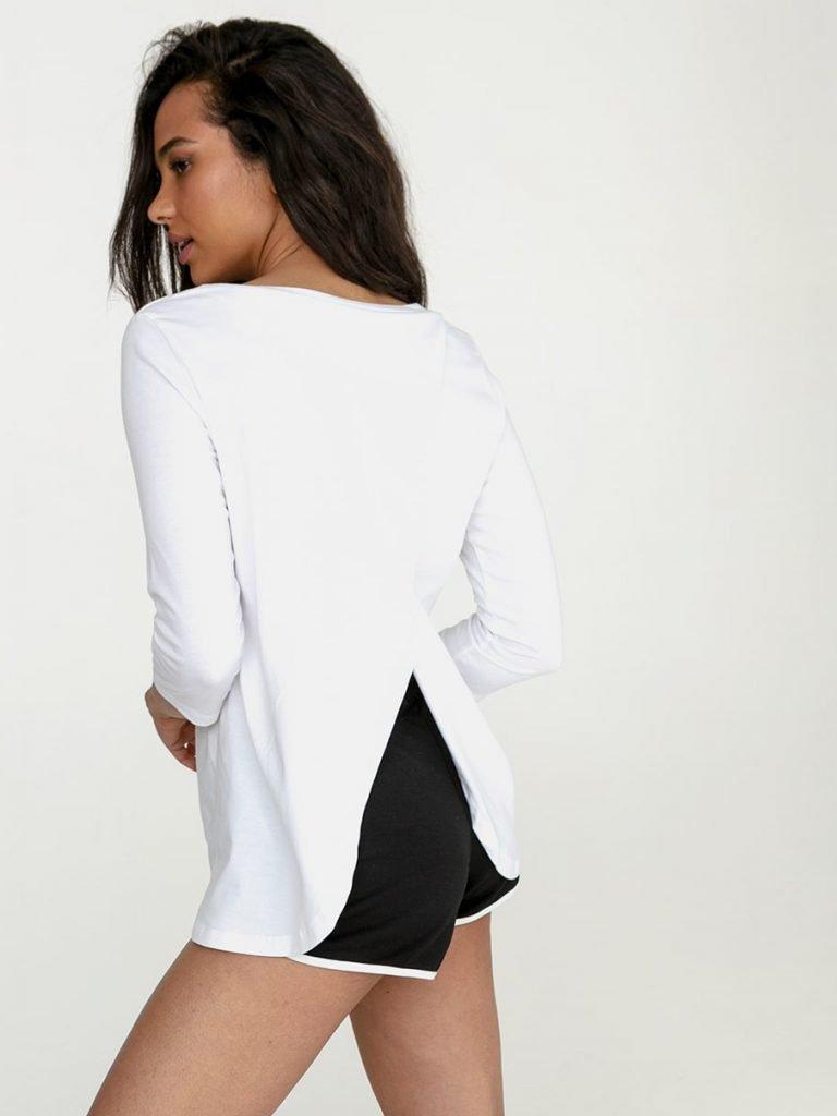 Biała koszulka z długim rękawem z zapachem na plecach Love&Live (zdjęcie 3)
