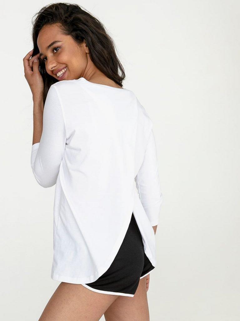 Biała koszulka z długim rękawem z zapachem na plecach Love&Live